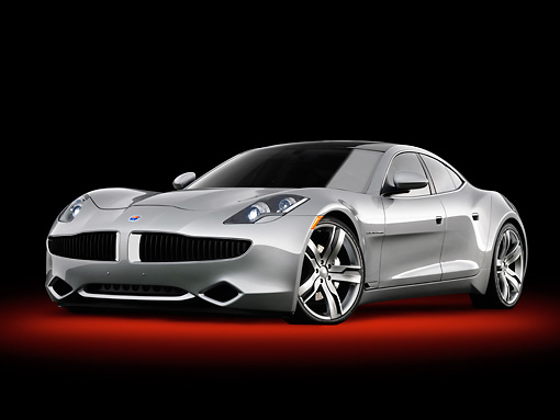 AUT 09 BK0030 01 © Kimball Stock 2010 Fisker Karma Hybrid Silver 3/4 Front View In Studio