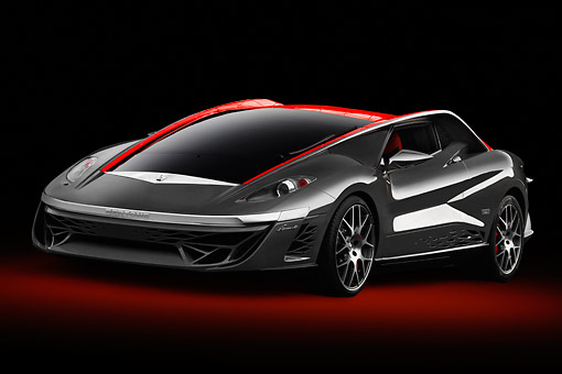 AUT 09 BK0031 01 © Kimball Stock Bertone Nuccio Concept Gray And Red 3/4 Front View In Studio