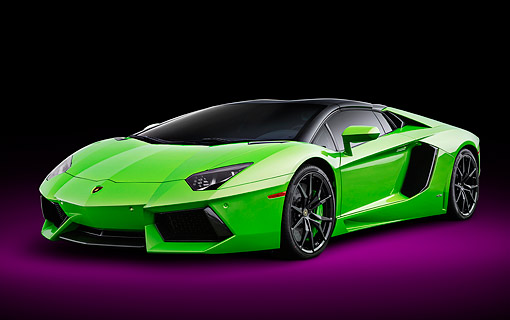AUT 09 BK0043 01 © Kimball Stock 2014 Lamborghini Aventador LP 700-4 Green 3/4 Front View In Studio