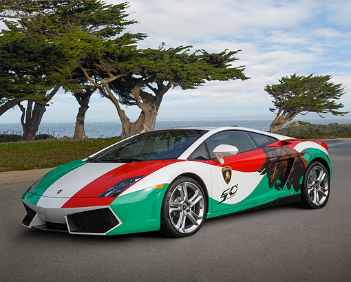 AUT 09 BK0045 01 © Kimball Stock 2013 Lamborghini Gallardo LP 550-2 White, Green And Red 3/4 Front View On Pavement By Water