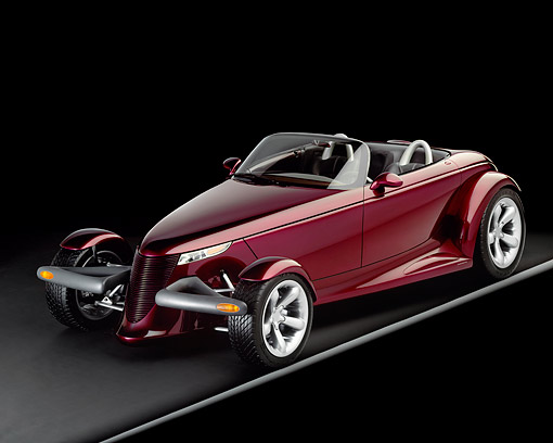 AUT 09 RK0016 03 © Kimball Stock Plymouth Prowler 3/4 Front View On Gray Line Studio Background