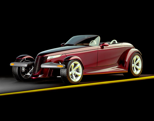 AUT 09 RK0017 10 © Kimball Stock Plymouth Prowler 3/4 Side View On Yellow Line Studio Background