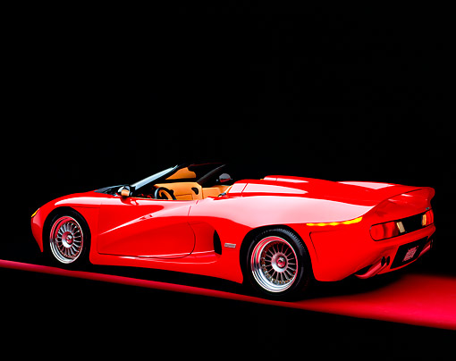 AUT 09 RK0110 07 © Kimball Stock 1994 Red Disegno Di Bizzarrini Convertible 3/4 Rear View On Red Floor Studio