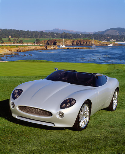 AUT 09 RK0372 12 © Kimball Stock Jaguar F-Type Roadster Concept Car Silver 3/4 Front View On Grass By Water
