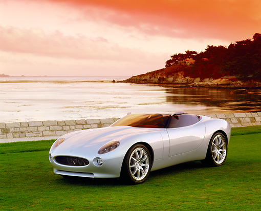 AUT 09 RK0373 05 © Kimball Stock Jaguar F-Type Roadster Concept Car Silver 3/4 Front View On Grass By Water Filtered