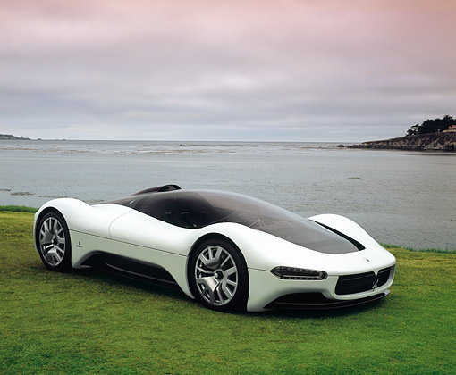 AUT 09 RK0795 03 © Kimball Stock Maserati Birdcage 75th Anniversary White 3/4 Side View On Grass By Water