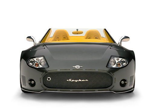 AUT 09 RK0858 01 © Kimball Stock 2005 Spyker C12 La Turbie Spyder Gray Head On Shot White Seamless