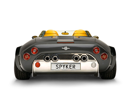 AUT 09 RK0860 01 © Kimball Stock 2005 Spyker C12 La Turbie Spyder Gray Low Rear View Shot White Seamless