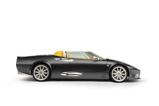 AUT 09 RK0862 02 © Kimball Stock 2005 Spyker C12 La Turbie Spyder Gray Profile View Shot White Seamless