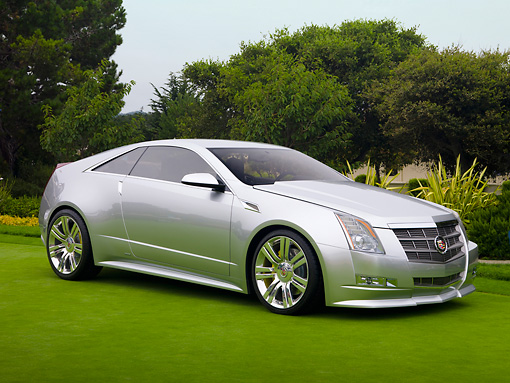 AUT 09 RK1101 01 © Kimball Stock 2008 Cadillac CTS Coupe Concept Silver 3/4 Front View On Grass