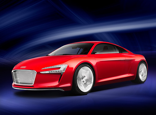 AUT 09 RK1180 01 © Kimball Stock Audi e-Tron Electric Coupe Concept Red 3/4 Front View Studio