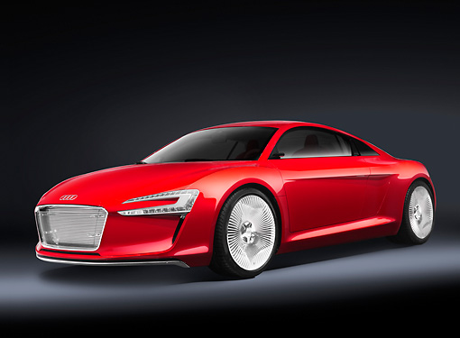 AUT 09 RK1181 01 © Kimball Stock Audi e-Tron Electric Coupe Concept Red 3/4 Front View Studio