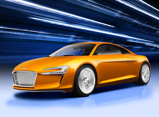 AUT 09 RK1182 01 © Kimball Stock Audi e-Tron Electric Coupe Concept Orange 3/4 Front View Studio