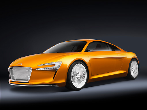 AUT 09 RK1183 01 © Kimball Stock Audi e-Tron Electric Coupe Concept Orange 3/4 Front View Studio