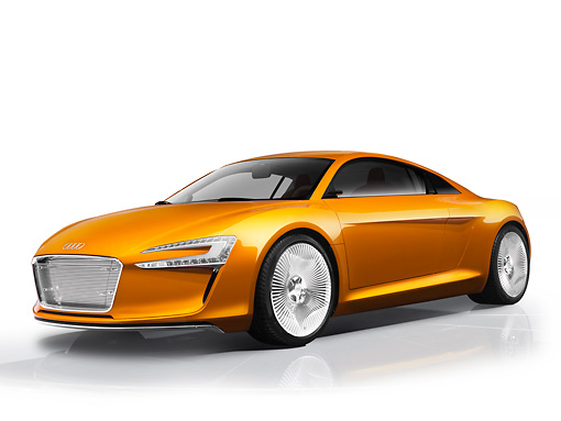 AUT 09 RK1184 01 © Kimball Stock Audi e-Tron Electric Coupe Concept Orange 3/4 Front View Studio