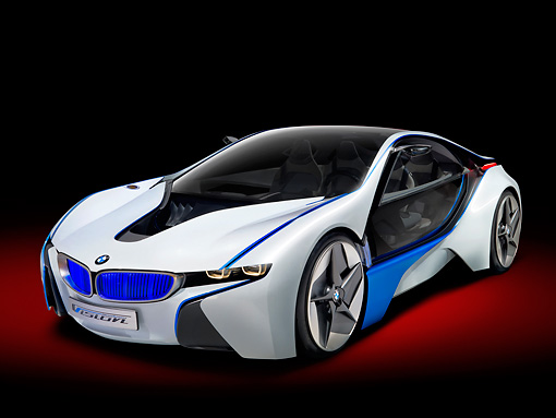 AUT 09 RK1185 01 © Kimball Stock BMW Vision EfficientDynamics Coupe Concept White And Blue 3/4 Front View Studio