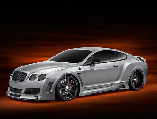 AUT 09 RK1189 01 © Kimball Stock Bentley Continental GT Coupe Silver 3/4 Front View Studio