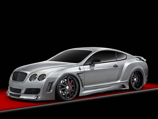 AUT 09 RK1190 01 © Kimball Stock Bentley Continental GT Coupe Silver 3/4 Front View Studio