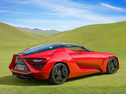 AUT 09 RK1200 01 © Kimball Stock 2009 Stile Bertone Mantide Concept Red 3/4 Rear View On Grass By Hills