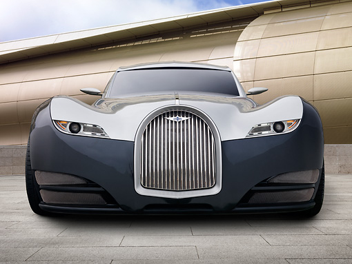 AUT 09 RK1207 01 © Kimball Stock 2012 Morgan EvaGT Concept Silver And Black Head On View On Grass By Building