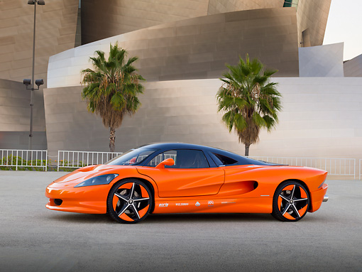 AUT 09 RK1227 01 © Kimball Stock 2011 Vision SZR Concept Orange 3/4 Side View On Pavement By Building And Palm Trees