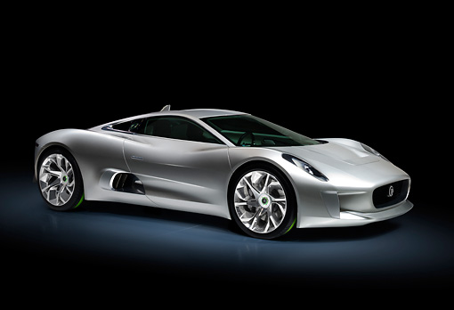 AUT 09 RK1233 01 © Kimball Stock Jaguar C-X75 Concept Silver 3/4 Front View In Studio