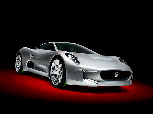AUT 09 RK1236 01 © Kimball Stock Jaguar C-X75 Concept Silver 3/4 Front View In Studio
