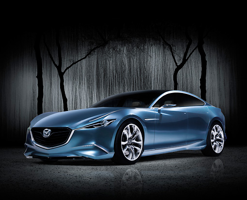 AUT 09 RK1240 01 © Kimball Stock Mazda Shinari Concept Blue 3/4 Front View With Studio Background