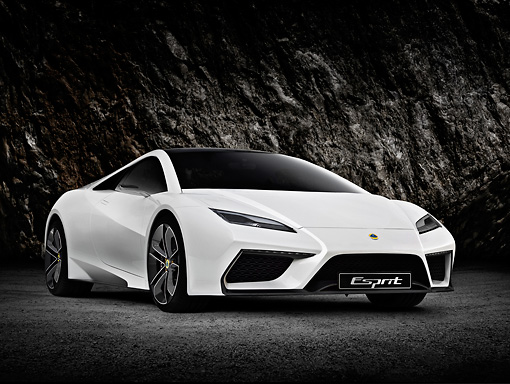AUT 09 RK1246 01 © Kimball Stock Lotus Esprit Concept White 3/4 Front View With Studio Background