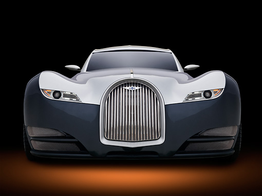 AUT 09 RK1248 01 © Kimball Stock 2012 Morgan EvaGT Concept Silver And Black Head On View In Studio