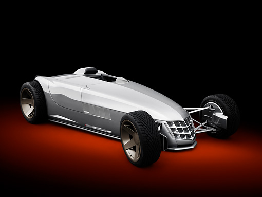 AUT 09 RK1249 01 © Kimball Stock 2010 Cadillac VSR Hot Rod Concept Silver 3/4 Front View In Studio