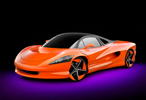 AUT 09 RK1250 01 © Kimball Stock 2011 Vision SZR Concept Orange 3/4 Front View In Studio