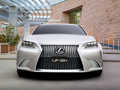 AUT 09 RK1257 01 © Kimball Stock 2011 Lexus LF-Gh Concept Hybrid Silver Front View On Grass