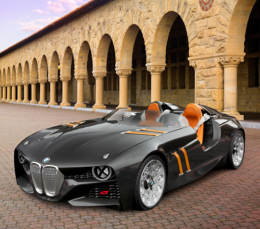 AUT 09 RK1258 01 © Kimball Stock BMW 328 Hommage Concept Black 3/4 Front View On Brick By Old Building With Arches