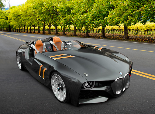 AUT 09 RK1259 01 © Kimball Stock BMW 328 Hommage Concept Black 3/4 Front View On Road By Trees And Vineyard