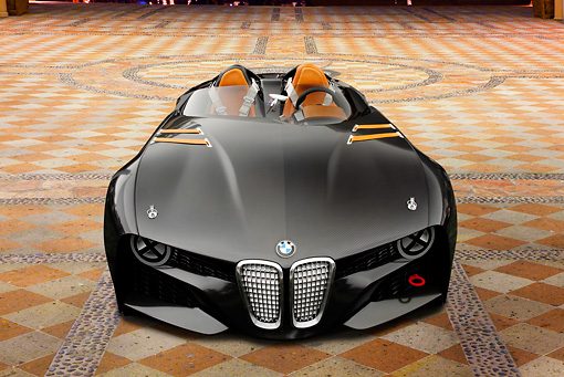 AUT 09 RK1260 01 © Kimball Stock BMW 328 Hommage Concept Black Front View On Cement