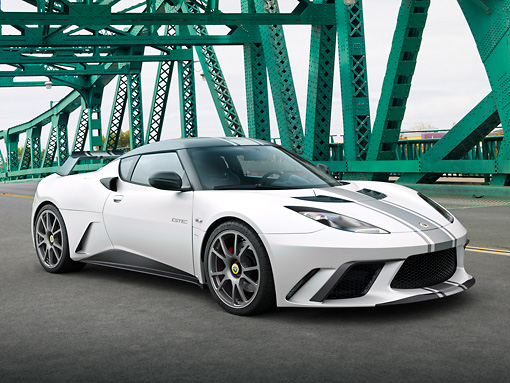 AUT 09 RK1267 01 © Kimball Stock Lotus Evora GTE Roadcar Concept Silver With Black Stripe 3/4 Front View On Green Bridge
