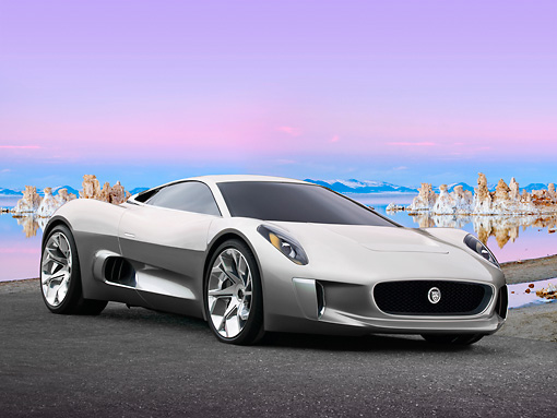 AUT 09 RK1276 01 © Kimball Stock Jaguar C-X75 Hybrid Concept Silver 3/4 Front View On Pavement By Icy Water
