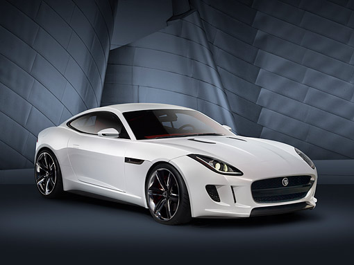 AUT 09 RK1277 01 © Kimball Stock Jaguar C-X16 Concept White 3/4 Front View In Studio