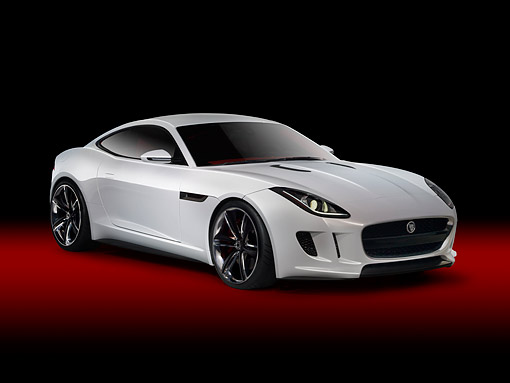 AUT 09 RK1279 01 © Kimball Stock Jaguar C-X16 Concept White 3/4 Front View In Studio