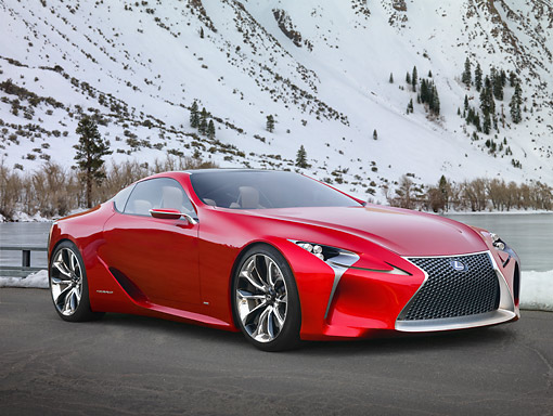 AUT 09 RK1284 01 © Kimball Stock Lexus LF-LC Concept Red 3/4 Front View On Pavement In Snowy Mountains