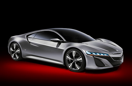AUT 09 RK1290 01 © Kimball Stock Acura NSX Concept Silver 3/4 Front View In Studio