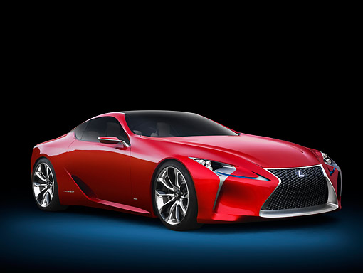 AUT 09 RK1292 01 © Kimball Stock Lexus LF-LC Concept Red 3/4 Front View In Studio