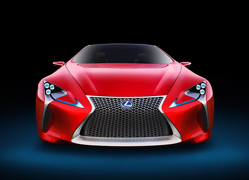 AUT 09 RK1293 01 © Kimball Stock Lexus LF-LC Concept Red Front View In Studio