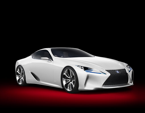 AUT 09 RK1295 01 © Kimball Stock Lexus LF-LC Concept White 3/4 Front View In Studio