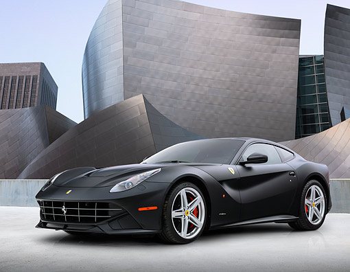 AUT 09 RK1301 01 © Kimball Stock 2013 Ferrari F12 Berlinetta Black 3/4 Front View On Concrete By Metal Structure