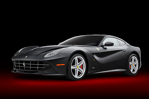 AUT 09 RK1302 01 © Kimball Stock 2013 Ferrari F12 Berlinetta Black 3/4 Front View In Studio