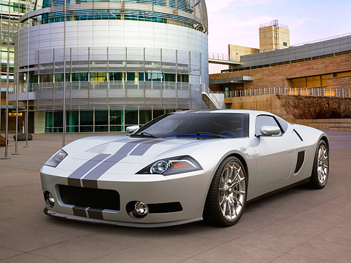 AUT 09 RK1303 01 © Kimball Stock Galpin Ford GTR1 Concept Silver 3/4 Front View On Stone By Buildings