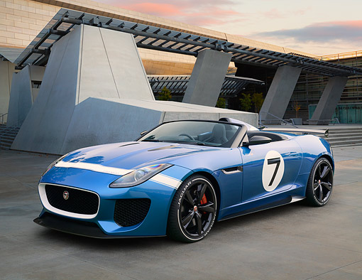 AUT 09 RK1307 01 © Kimball Stock Jaguar Project 7 Concept Blue 3/4 Front View On Concrete By Building