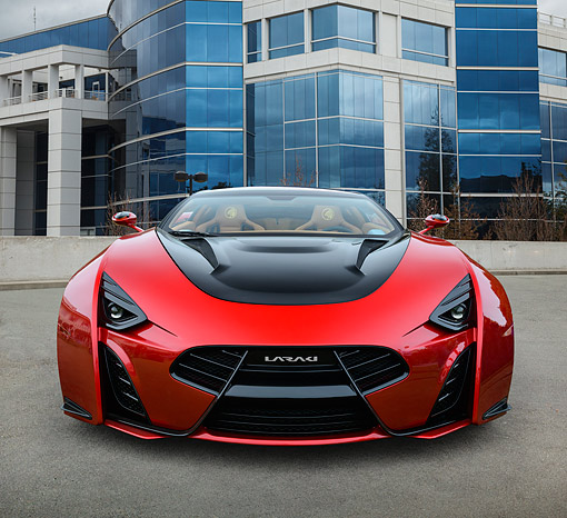 AUT 09 RK1313 01 © Kimball Stock Laraki Designs California Epitome Concept Red Front View On Concrete By Glass Building